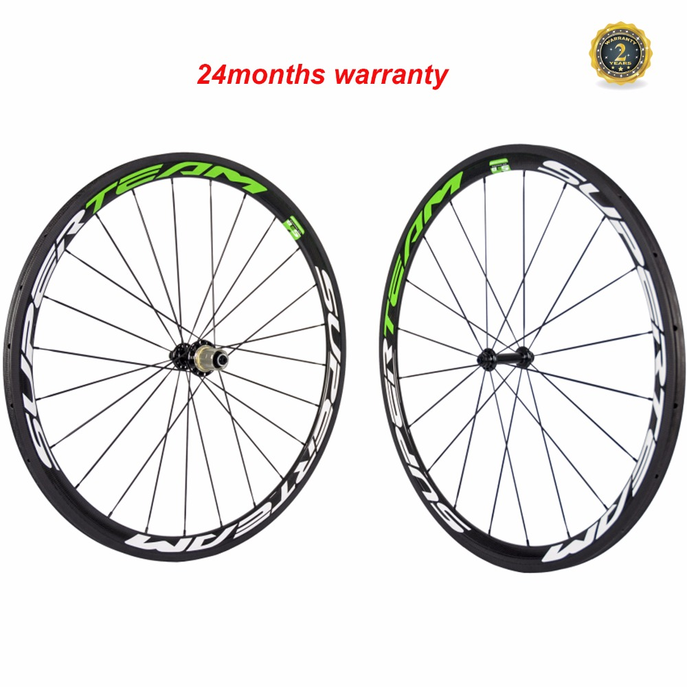 SUPERTEAM 700C Racing Bicycle Carbon Wheels Tubular 38mm Carbon Road Bike Wheelset Clincher 3K carbone Wheel