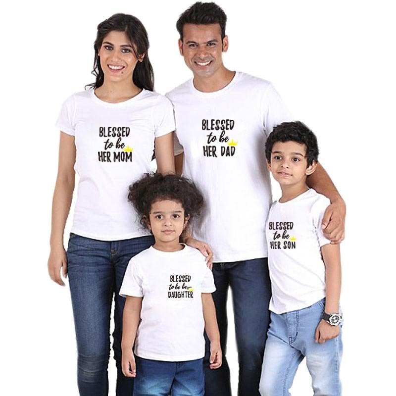 3791c49c Blessed to be her son Print family looks matching cotton clothes outfits  mother daughter tshirt daddy mommy and me baby clothing
