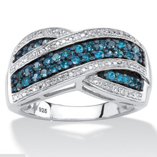Huitan Personalized Intersect Women Ring Tiny Blue&White Cubic Zircon Paved Trendy Romantic Wedding Engagement Jewelry