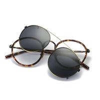 Vazrobe Clip on Sunglasses Men Women Unisex Round Glasses Frame Double Lens Mirror Diopter Driving Goggles Vintage Steampunk Man