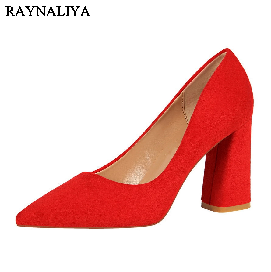 New Solid Color Woman Square High Heels Pumps Lady' Sexy Pointed Toe Slip On Nightclub Shoes Small Size DS-B0106 lady glitter high fashion designer brand bow soft flock plus size 43 leisure pointed toe flats square heels single shoes slip on