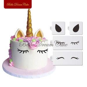 Image 1 - ユニコーン目&耳ケーキサイドステンシルセット動物ステンシルパーティー結婚式装飾テンプレートケーキ飾る用品ツール