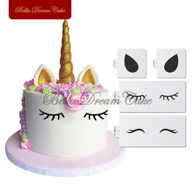 ユニコーン目&耳ケーキサイドステンシルセット動物ステンシルパーティー結婚式装飾テンプレートケーキ飾る用品ツール