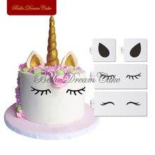Conjunto de estêncil de bolo unicórnio, olhos e orelhas laterais, animais, festa, decoração de casamento, ferramenta de decoração de bolo