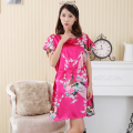 Hot Pink Ladies Summer Faux Silk Robe Dress New Style Sleepshirt Sexy Mini Nightgown Kimono Bath Gown Floral Plus Size WC097