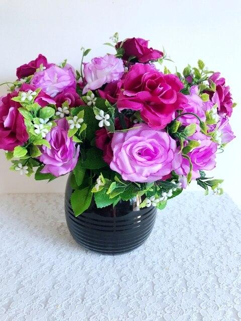 Artificial flower 7 fork big light pink deep pink rose high artificial flower 7 fork big light pink deep pink rose high profile simulation silk flower mightylinksfo