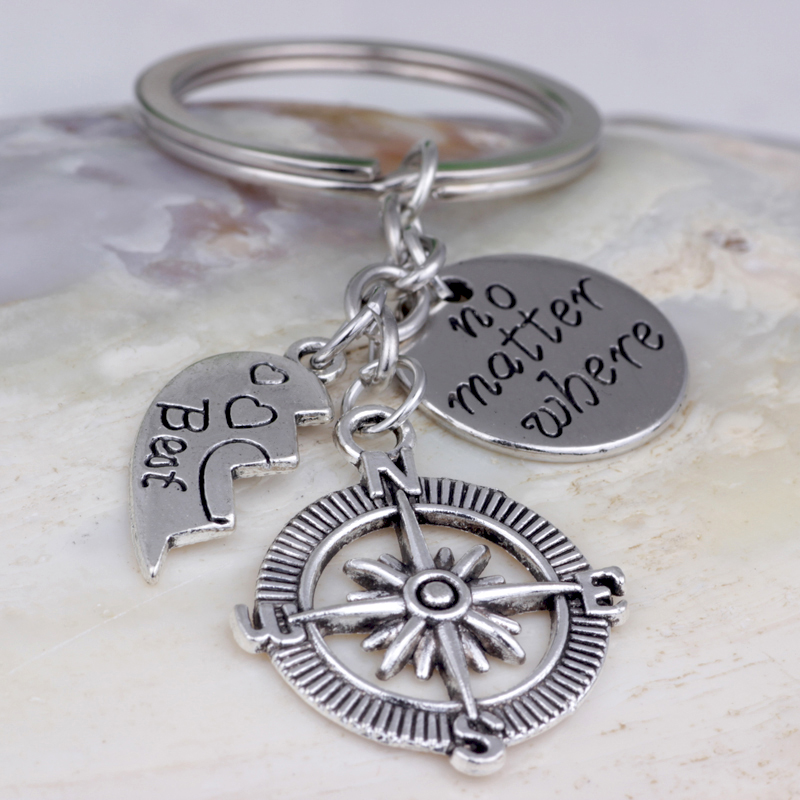 K001 Inspirational Key Chain friend ship Key Rings no matter where Best friend Metal Keychain Jewelry Key Holder