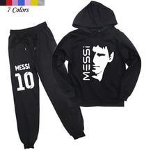 Piłka nożna gwiazda Messi drukowane ubrania dla dzieci dla dzieci zestaw dla dzieci bawełniane bluzy z kapturem spodnie chłopcy dziewczyny na co dzień z kapturem płaszcz spodnie Harem