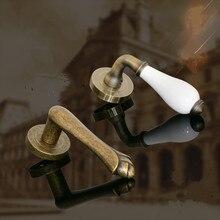 Винтажная складная деревянная дверная ручка, бронзовая белая керамическая невидимая дверная ручка, дверная ручка для прохода, дверная ручка для фасада