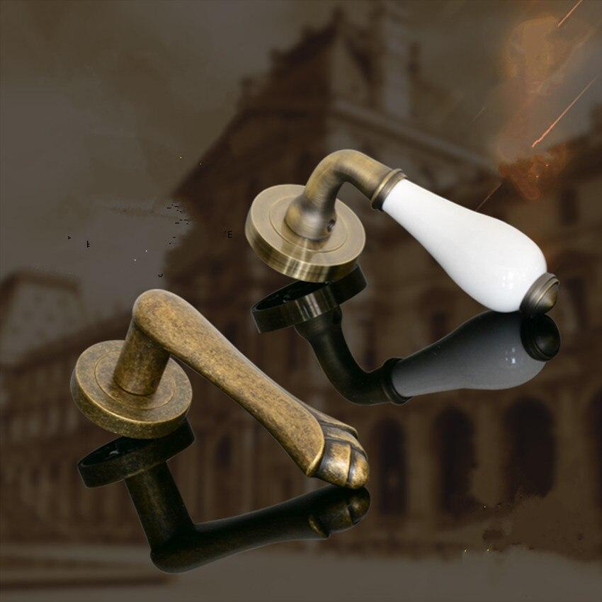 Vintage déplier installer des poignées de porte en bois bronze blanc en céramique furtif poignée de porte porte allée, façade poignée de porte simple