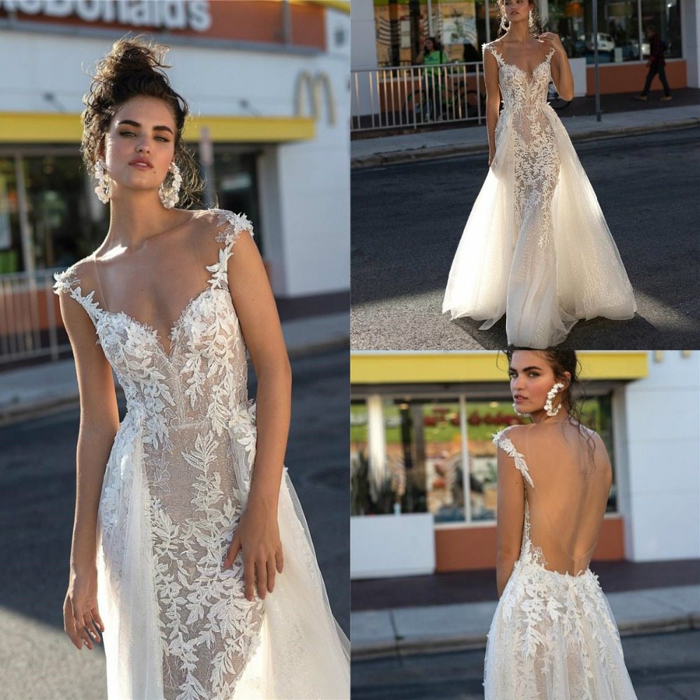 Romantic Illusion Wedding Dresses 2019 Berta Sexy Open Back Cap Sleeve Detachable Train Appliqued Lace Mermaid Bridal Gowns