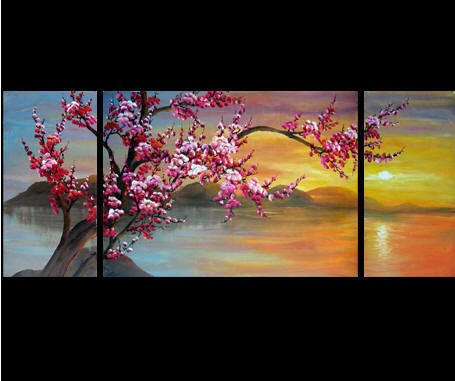 Japanese Cherry Blossom Painting Abstract Art On Canvas 1