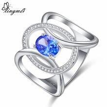 Lingmei novo design oval multi preto & azul branco cz prata colorring tamanho 6-9 moda elegante feminino jóias noivado