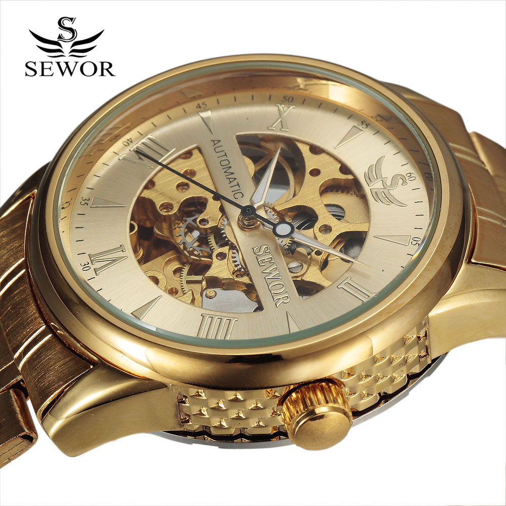 SEWOR Black Golden Design Black Mens Watch Top Brand Luxury Erkek Saat Skeleton Mechanical Watch Male Clock Relogio Montre Homme forsining tourbillon designer month day date display men watch luxury brand automatic men big face watches gold watch men clock