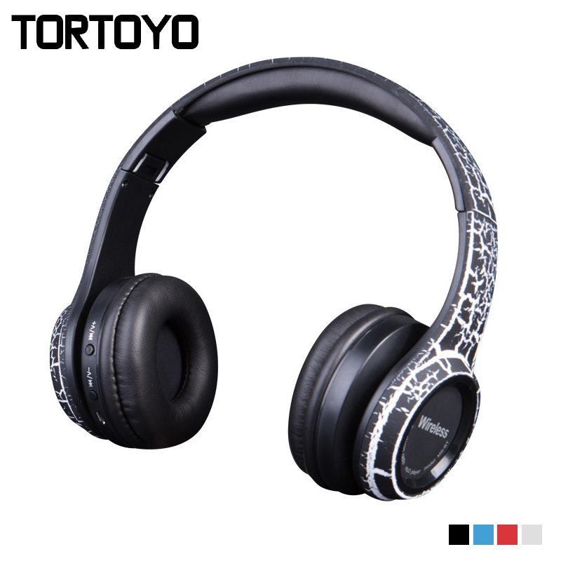 TORTOYO Stylish Crack Foldable Bluetooth Headphone Wireless Stereo Bass Headset Earphone with Mic TF Card FM Radio 3.5mm Aux bluetooth wireless stereo headset audio connection card player fm radio headphone earphone with mic tf card mp3 supported