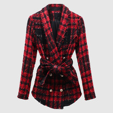 2019 Ms Blasting Models of Foreign Trade Coat and Belts Braided Tweed Suit Collar Wool Fashion Jackets Women