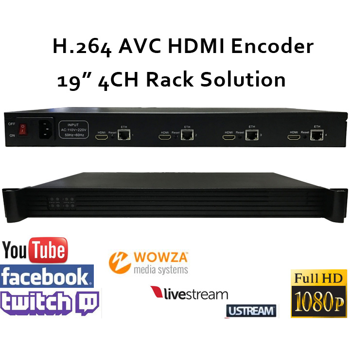 1U 4CH H.264 HDMI Video Encoder for live Broadcast support RTMP for Wowza,RED5,FMS,Youtube,Facebook,Twitch