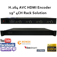 1U 4CH H.264 HDMI Video Encoder for live Broadcast support RTMP Wowza,RED5,FMS,Youtube,Facebook,Twitch