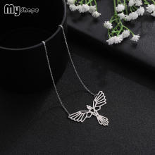 My Shape Fashion Jewelry Stainless Steel Geometric Hollow Bird Wings Pendant Necklace Set