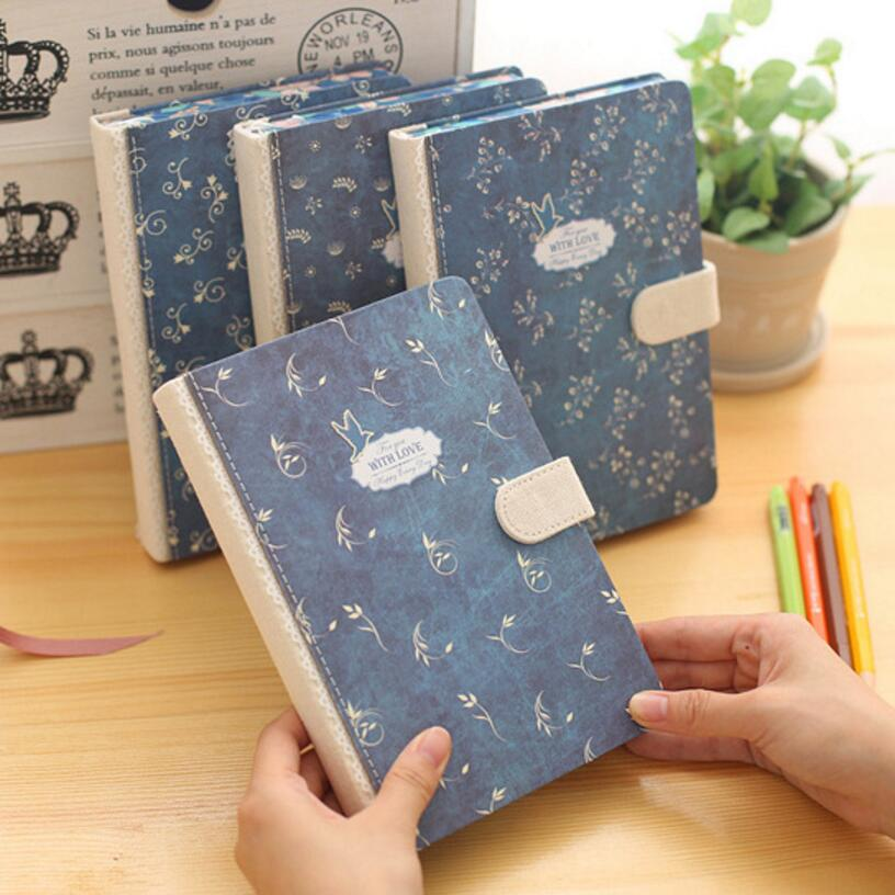 Cute Flowers notebooks Vintage Hard copybook Lace Notepad Journal Diary planner for kids gift Stationery office School Supplies cute spiral leather notebook stationery fine planner notebooks diary with lock office school supplies multifunction notepad