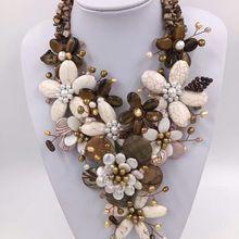 Белый Бирюзовый цветок и пресноводный жемчуг бусы ожерелье 19 дюймов weholesale бусы подарок FPPJ