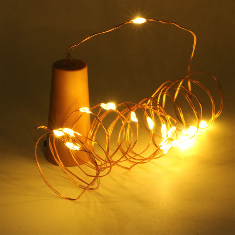 1M 2M10LED 20LED Garland Copper Wire Corker String Fairy Lights Wooden Bottle New Year Christmas Valentines Wedding Decoration