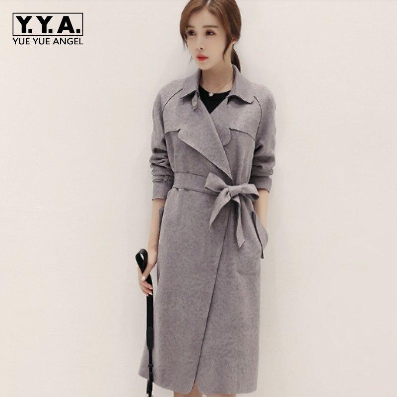 Gray Color Korea Fashion Streetwear Chic Long Jaqueta De Couro   Suede   Comfortable Belted Women Top Pocket Faux   Leather   Overcoat
