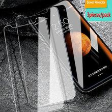3 piezas fácil de instalar ultra Delgado a prueba de arañazos teléfono móvil templado película frontal protector de pantalla de vidrio para apple iphonex 7 8 6 7p