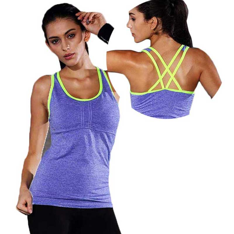 Femmes Pro Gym Sports Réservoir Avec Plastrons T-shirt Yoga Workout Gilet Fitness Exercice D'entraînement Courir De Compresser Les Vêtements Tee Top