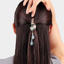 цена на Cloisonne Enamel Colorful Jade Hairclip Hair Jewelry Handicrafts Barrettes Ancient Hair Accessory Chinese Ethnic Head Ornaments