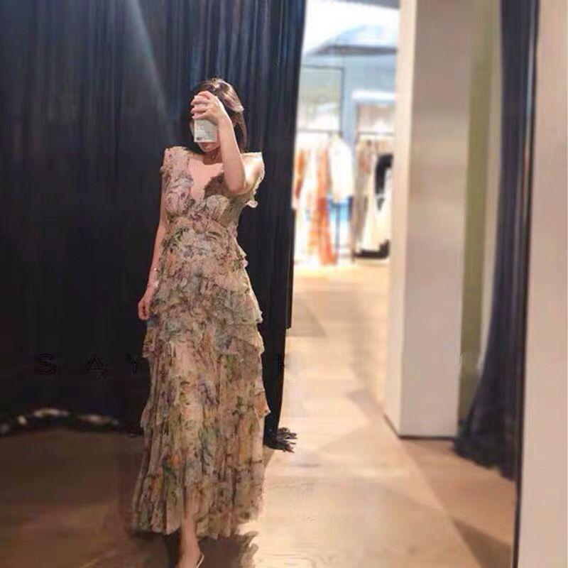2019 mode nouveau Catwalk col en v Sexy été européen et américain imprimer lâche en bois oreille dames longue robe