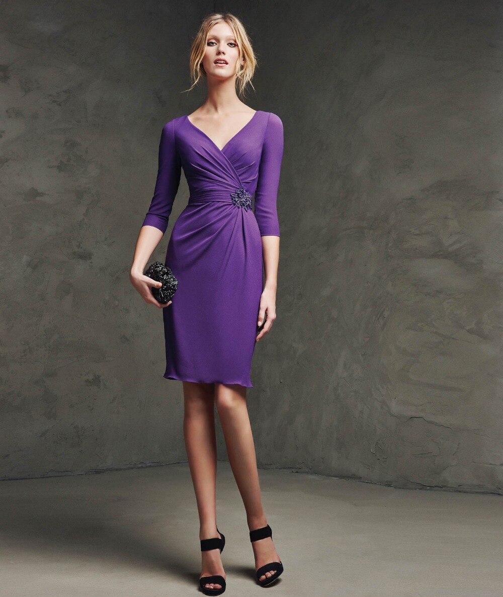 V neckline cocktail dress violet