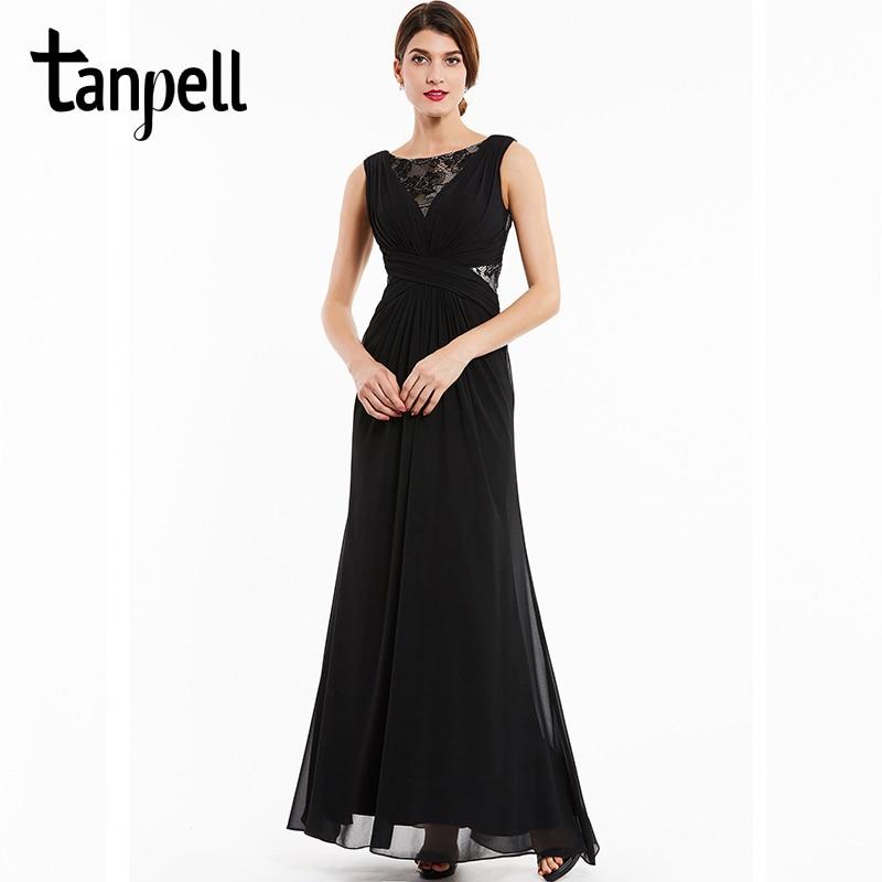 Tanpell bateau kveldskjole svart blonder sleeveless gulvlengde en - Spesielle anledninger kjoler - Bilde 1