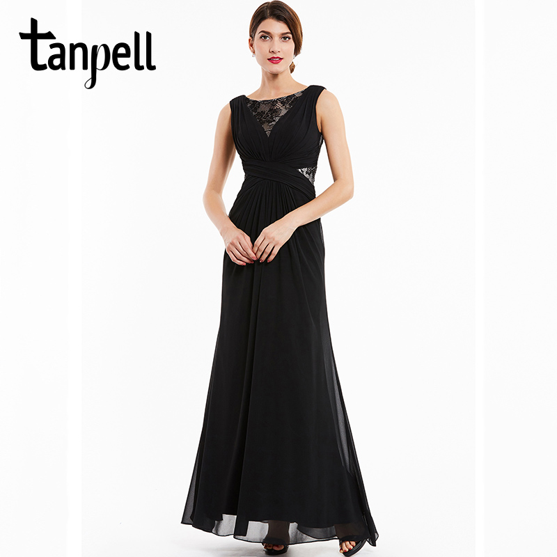 Tanpell bateau βραδινό φόρεμα μαύρο δαντέλα αμάνικο πάτωμα μήκος ένα φόρεμα γραμμή φθηνές γυναίκες chiffon φορέματα επίσημη μακρά βραδινά φορέματα
