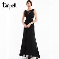 Tanpell bateau evening dress black lace sleeveless floor length a line gown cheap women chiffon prom formal long evening dresses