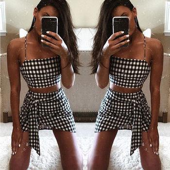 Fashion Women checkerboard 2 Piece Set Bodycon Skirt Crop Top off shoulder Tank Summer two piece set Bandge gingham Mini Skirt 2