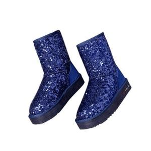 Image 3 - Jianbudan革牛革暖かい女性の雪のブーツの女性スパンコール冬の綿のブーツ本革豪華な雪のブーツ35 40
