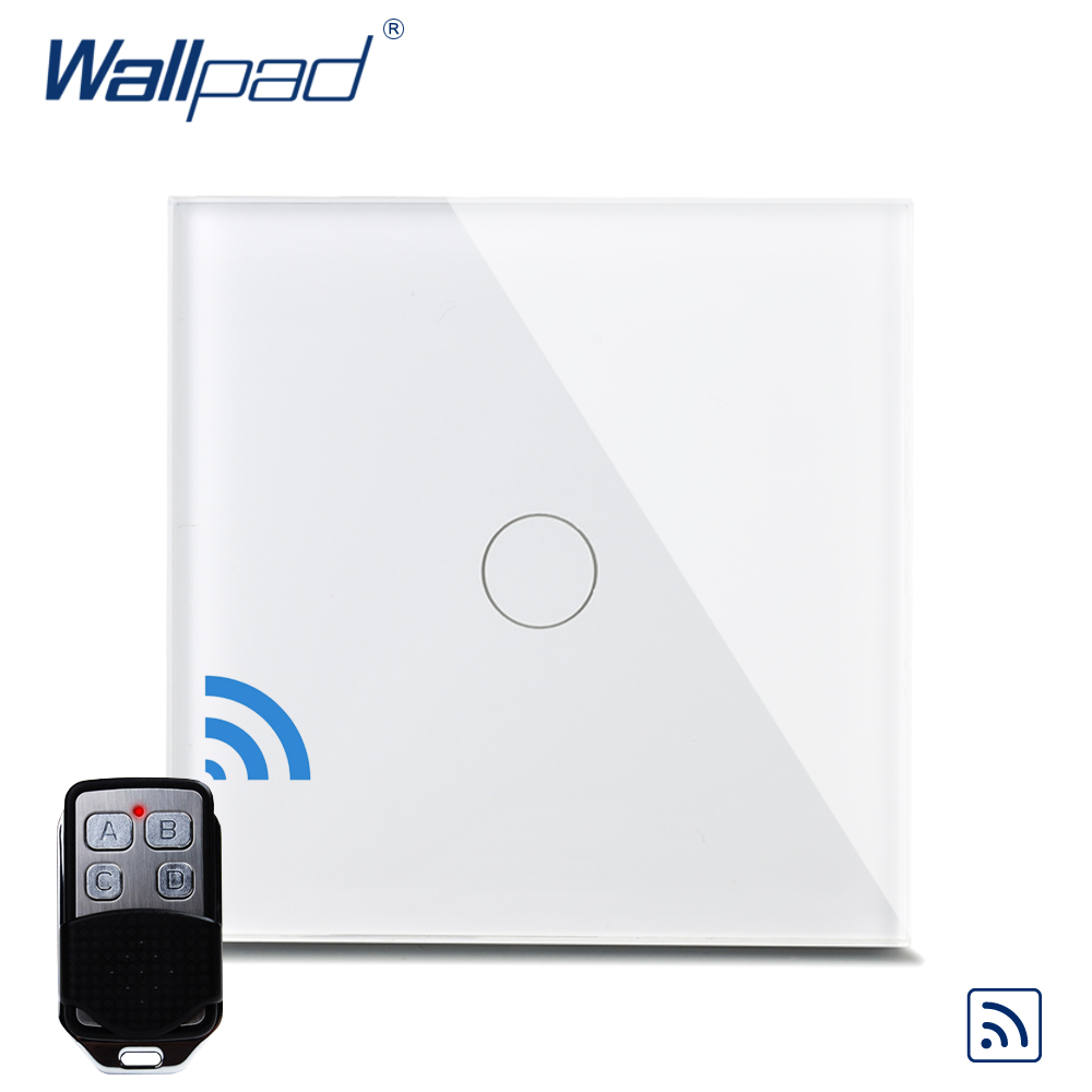 Wallpad Luxury Crystal Glass 1 Gang 1 Way Remote Control Wall Light Touch Switch UK AC 110-250V With Remote Controller eu 1 gang wallpad wireless remote control wall touch light switch crystal glass white waterproof wifi light switch free shipping