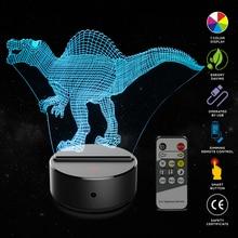 Dinosaur Shape 3D Illusion Lamp 7 Color Change Touch Switch LED Night Light Acrylic Desk lamp Atmosphere Novelty Lighting
