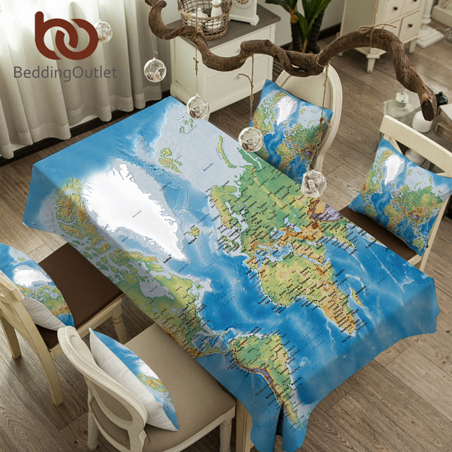 BeddingOutlet World Map Tablecloth Waterproof Blue Party Table