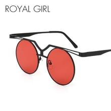ROYAL GIRL Fashion Flat Top Sunglasses Women Classic Brand Design Round Sun Glasses Double Nose Metal Frame Eyewear SS524