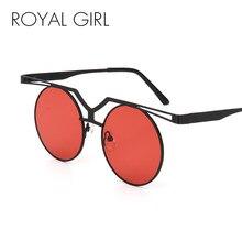 MENINA REAL Moda Flat Top Óculos De Sol Das Mulheres de Design Da Marca  Clássico Óculos de Sol Redondos Nariz Duplo Metal Frame . 2114ded71a