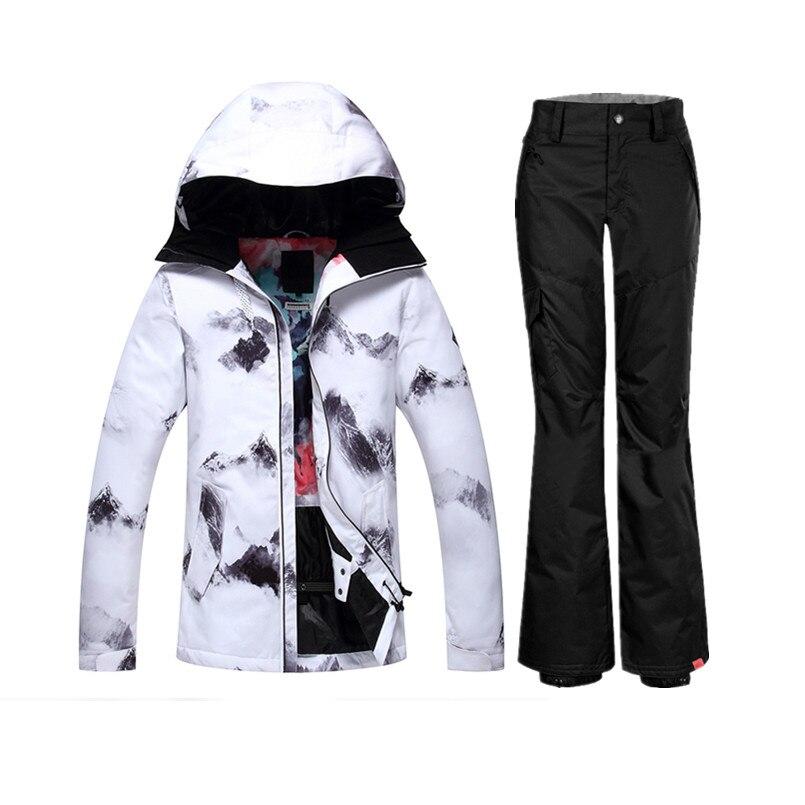 2018 Gsou combinaison de ski de montagne femmes wintersport combinaison de ski veste de snowboard femme pantalon de neige ski et snowboard esqui