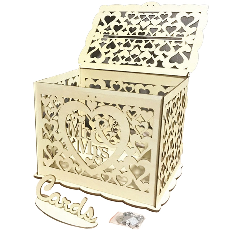NHBR-Mr & Mrs Wedding Gift Card Box Wooden Wedding Invitation Card Box Card Sign Set Country Wedding Decoration Gifts Party