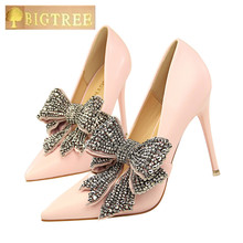 BIGTREE women pumps 10.5CM elegant Thin High heel Shallow mouth Pointed Word Band Rhinestone Bow tie women pumps