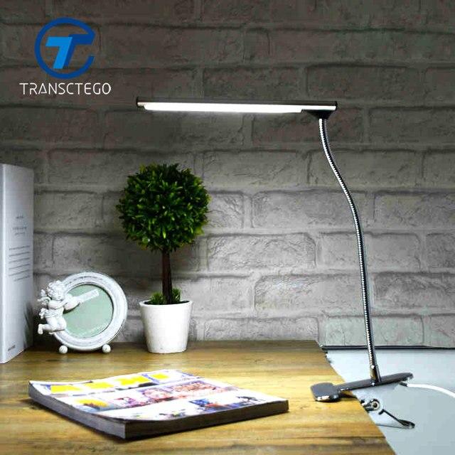 Настольная лампа Клип LED зажим desklight luminaria-де-меса USB Порты и разъёмы для студента стол Спальня прикроватные office гибкий свет нержавеющей