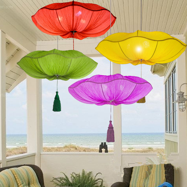 Здесь можно купить   Modern chinese style lamps new classical ocean light fabric pendant light 2022 yellow/green/purple/blue Свет и освещение