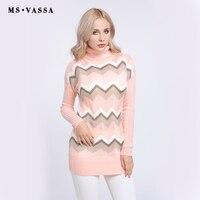 MS VASSA New Sweaters Ladies 2017 Knitted Stripe Women Pullovers Autumn Winter Turtleneck Long Sleeve Jumpers