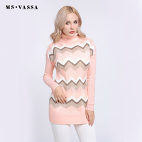MS VASSA New Sweaters Ladies 2017 Knitted Stripe Women Pullovers Autumn Winter Turtleneck Long Sleeve Jumpers