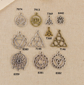 30pcs The Flower of life Charm Chakras Pendant Lotus Flower Charm Jewelry DIY Finding h31 image